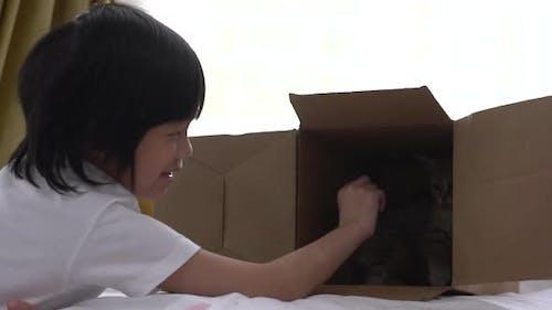 Asiatischer Junge spielt Verstecken mit einem Kätzchen
