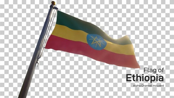 Ethiopia Flag on a Flagpole with Alpha-Channel