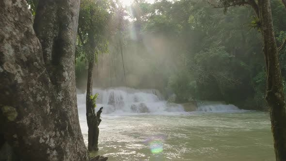 Waterfall With Sunlight
