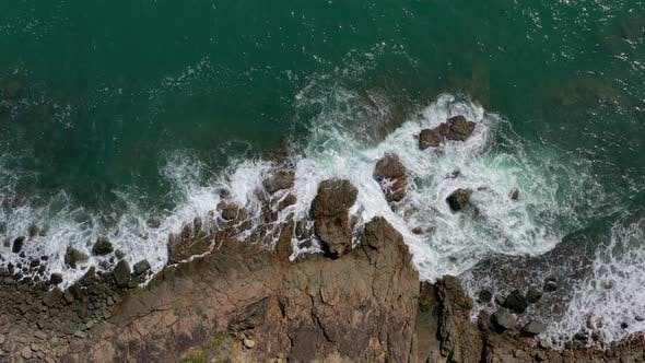 Thumbnail for Top view of drone fly over sea coast