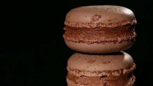 Traditional Italian Macaron Cookies With Sweet Chocolate and Caramel Filling