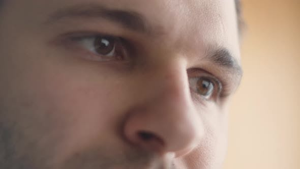 Thumbnail for Eyes of Serious Caucasian Man Using His Tablet Computer. Screen Reflecting in the Eyes, Device