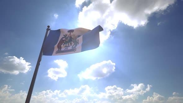 Kelowna City Flag (Canada) on a Flagpole V4