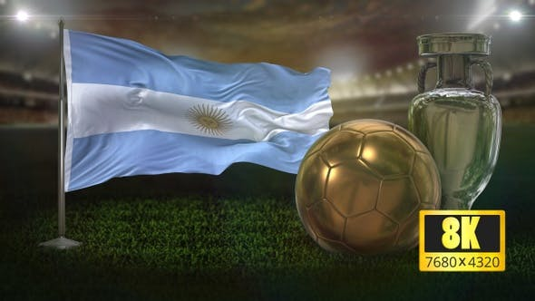 8K Argentina Flag with Football And Cup Background Loop
