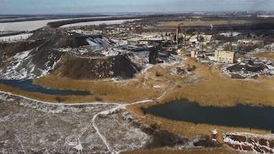 Aerial Shot of Factory for Fossil Extraction