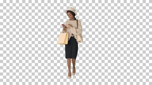 Thumbnail for Happy African american fashion girl in, Alpha Channel