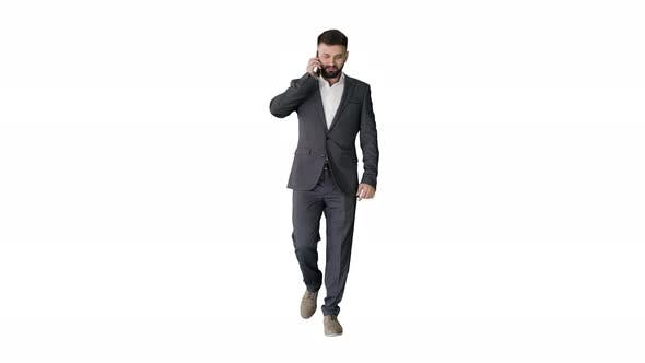 Thumbnail for Businessman Walking and Making a Call on White Background