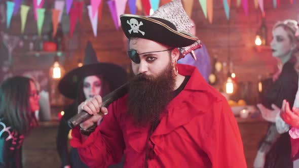 Thumbnail for Evil Pirate Dancing at a Fun Halloween Party with His Scary Friends
