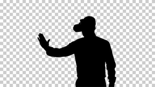Silhouette Businessman in VR glasses