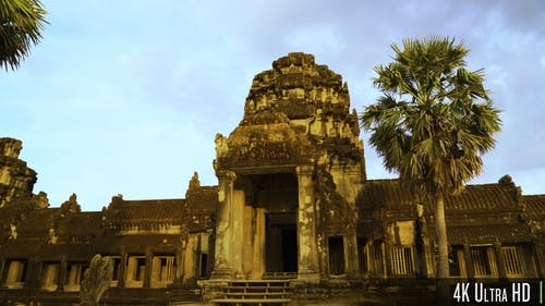 4K Entrance to the Main Temple Building at Angkor Wat in Siem Reap, Cambodia