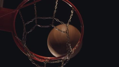 Ball Getting in the Hoop with Metal Net