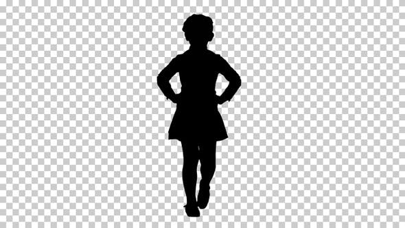 Thumbnail for Silhouette Little cute girl walking with hands on her hips