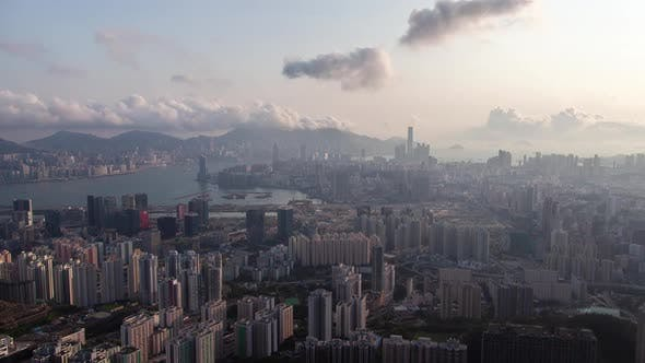 Cover Image for Timelapse Hong Kong Districts at Blue Harbor Against Hills
