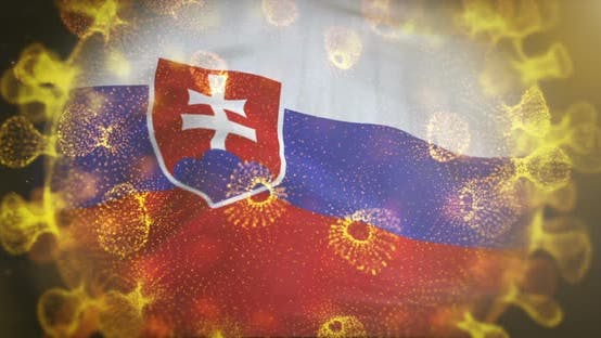 Slovakia Flag With Coronavirus Microbe Centered