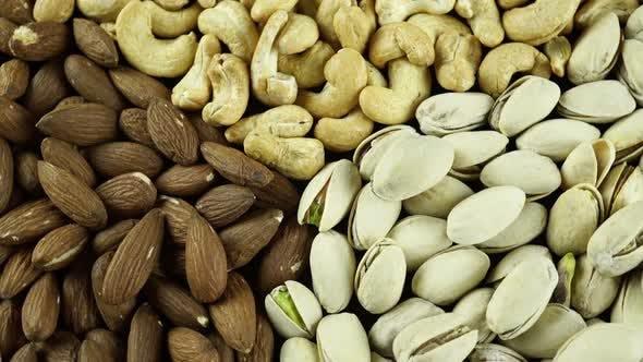 Rotating Nuts Almonds Hazelnuts And Cashews 2.