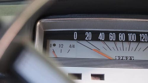 Car Retro Dashboard. Vintage Retro Speedometer and Instrument Panel of Old Car