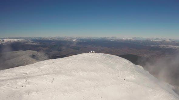 Thumbnail for Beautiful Winter Aerial Flight Over Mountain Chain Landscape Adventure Hiking Trekking Ski Vacation