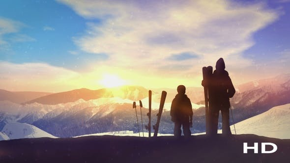 Thumbnail for Family Skiers On Top Of The Mountain HD