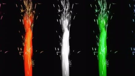 Thumbnail for Colorful fireworks burning on the black background.