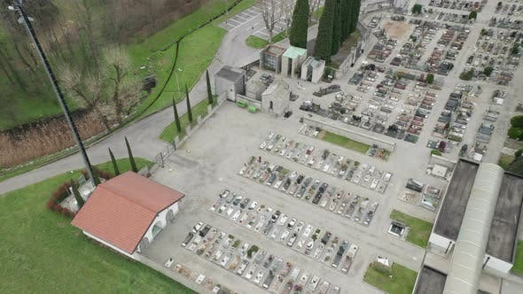 Thumbnail for Cemetery Aerial View Cloudy Winter