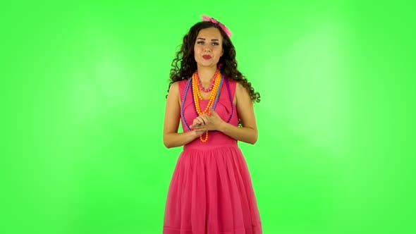 Thumbnail for Woman in Anticipation of Worries, Then Disappointed and Upset. Green Screen
