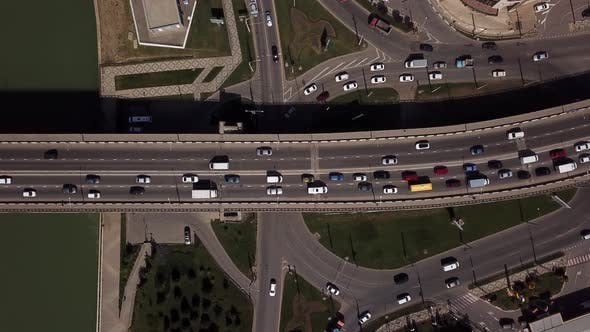 Thumbnail for Drone's Eye View -  City Road Above View of Urban Traffic Jam on a Car Bridge