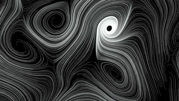 Thumbnail for Animation of white abstract curved lines over black background