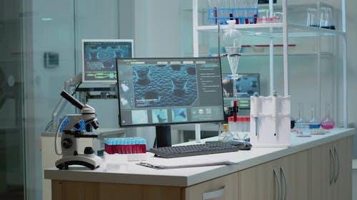 Empty Laboratory Space with Biochemistry Equipment