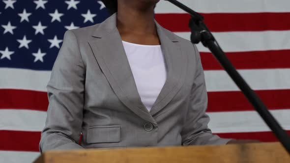 Thumbnail for Woman gives political speech
