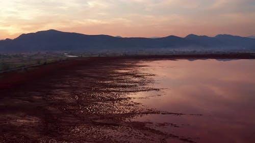 Industrial toxic waste pond of bauxite tailings (red mud) - sludge is environmental hazard