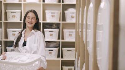Woman Laundry Basket Selfservice Laundry