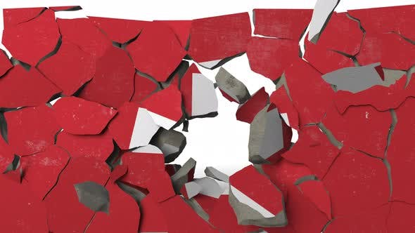 Destroying Wall with Painted Flag of Switzerland
