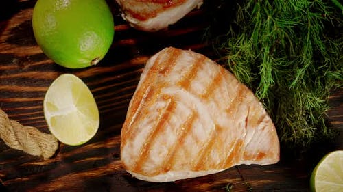 The Finished Roasted Tuna Steak with Lime and Dill Rotates.