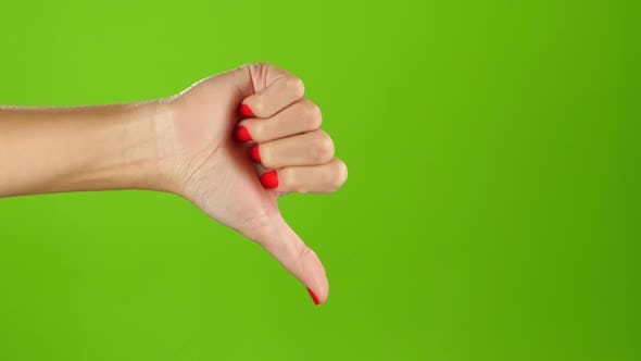 Thumbnail for Thumbs Down Female Hand on Green Screen Background. Sign Language