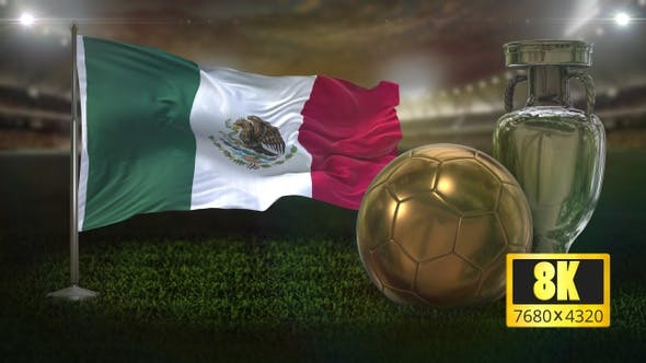 8K Mexico Flag with Football And Cup Background Loop