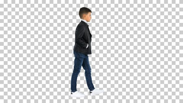 Thumbnail for Young boy in a leather jacket walking, Alpha Channel