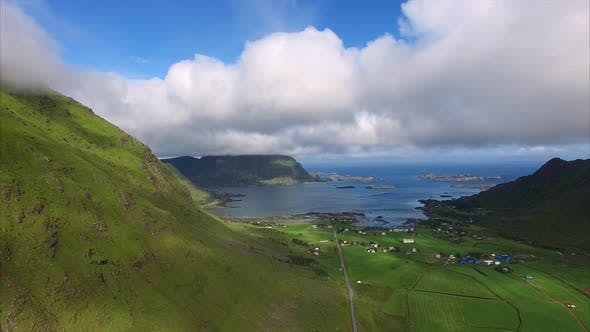 Thumbnail for Farming village on Lofoten islands, aerial view