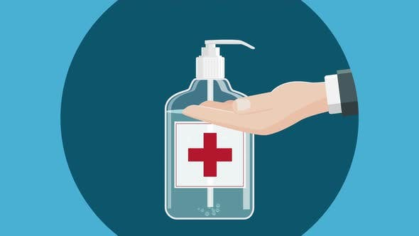 Hand Sanitation With Disinfectant Gel Cartoon