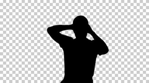 Silhouette Construction worker walking, Alpha Channel