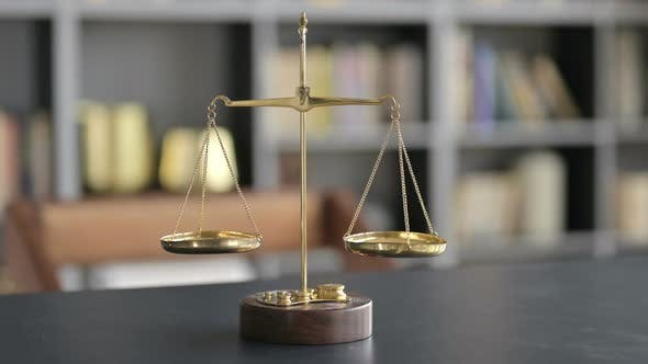 Thumbnail for Gold Brass Balance Scale on Lawyer Office Table