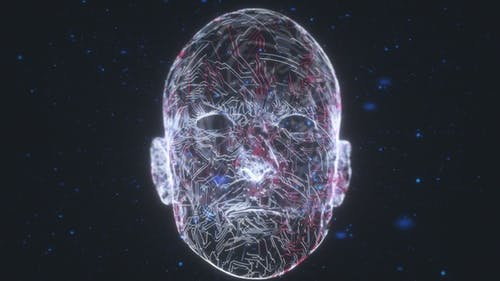 Human Head With Artificial Intelligence By Circuit Board Technology Elements