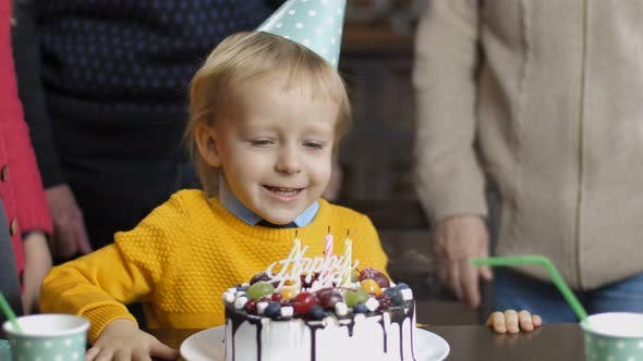 Thumbnail for Excited Little Boy Blowing Candles on His Birthday