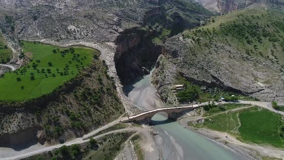 Thumbnail for Canyon River And Bridge Aerial View 5