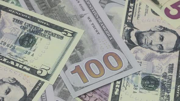 Old And New Banknotes Of Us Dollars Of Different Denominations