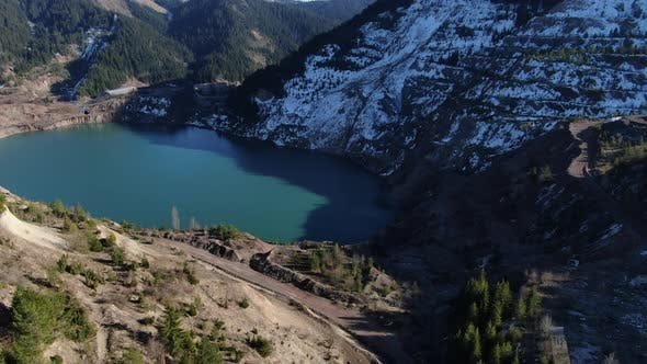 Abandoned Mine With a Lake Aerial