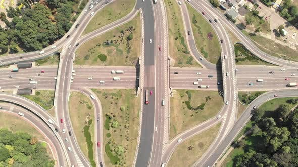 Automobile Transport Interchange in Kyiv. Ukraine. Aerial