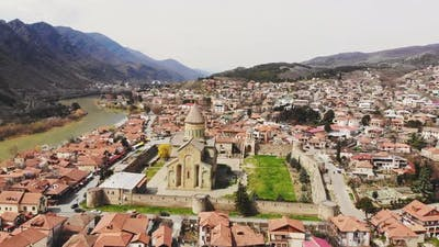 Mtskheta Town In Georgia Aerial View