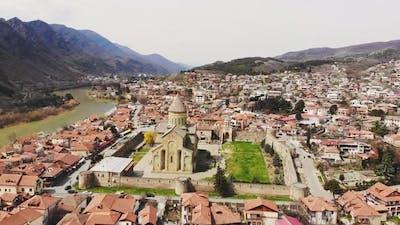 Mtskheta Town In Georgia Aerial View