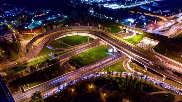 Freeway Intersection Traffic Trails in Night Moscow