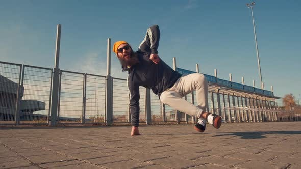 Thumbnail for Dancing Man Young Talented Street Dancer Breakdancing Performing Various Freestyle Dance Moves